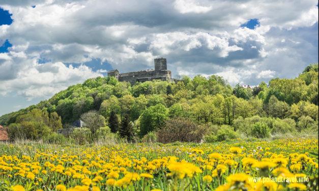 Wiosenny landszaft z zamkiem w roli głównej