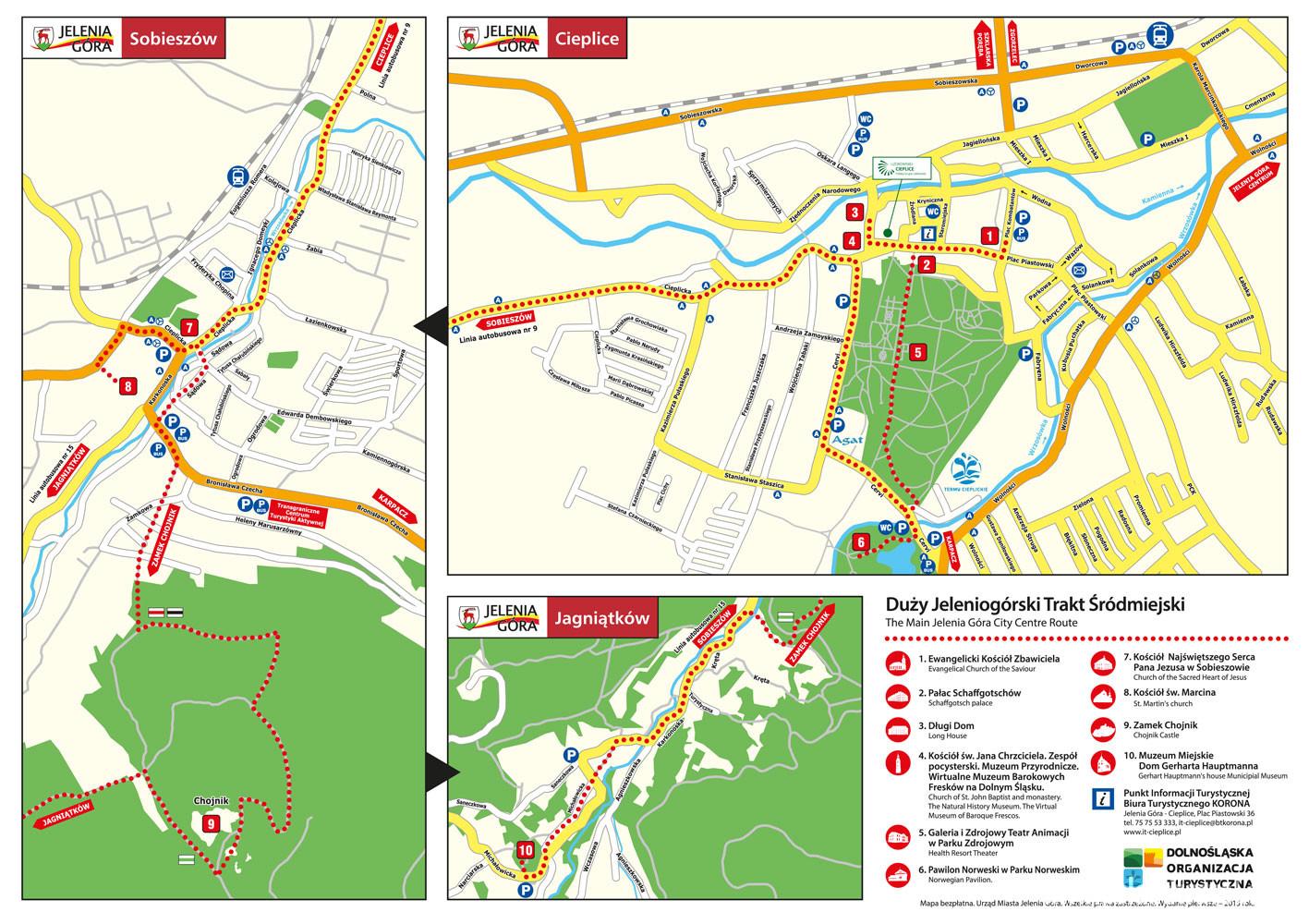 mapa: Trasy Turystyczne Jelenia Góra