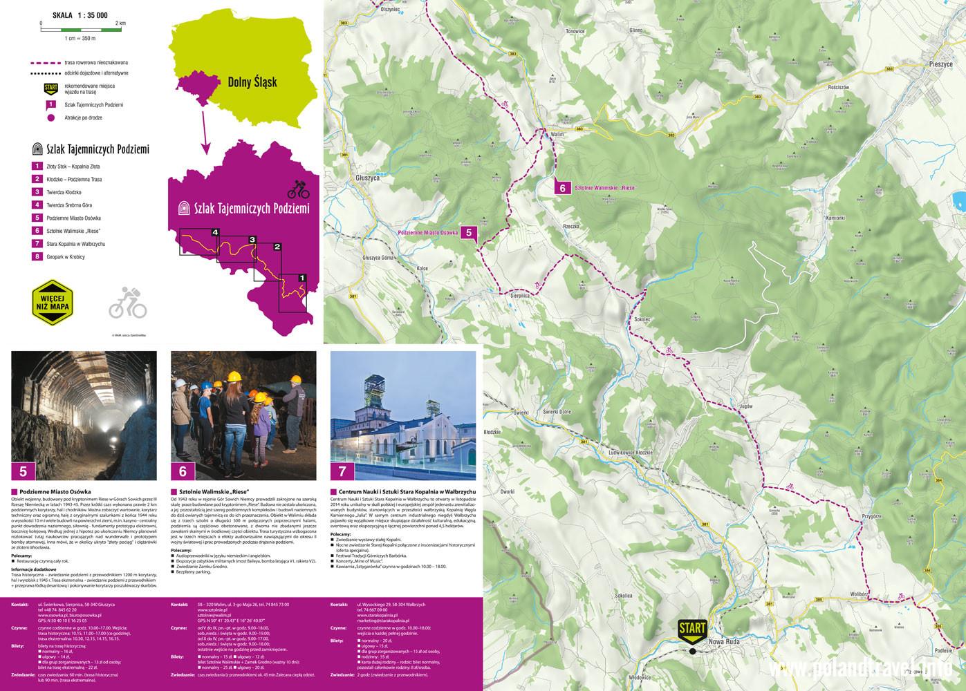 mapa: Szlak Tajemniczych Podziemi