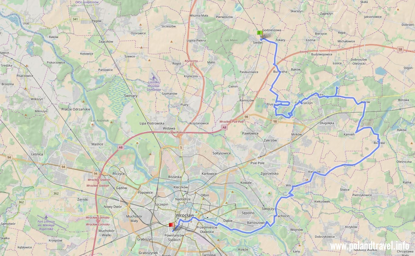 mapa z zaznaczoną trasą rowerową