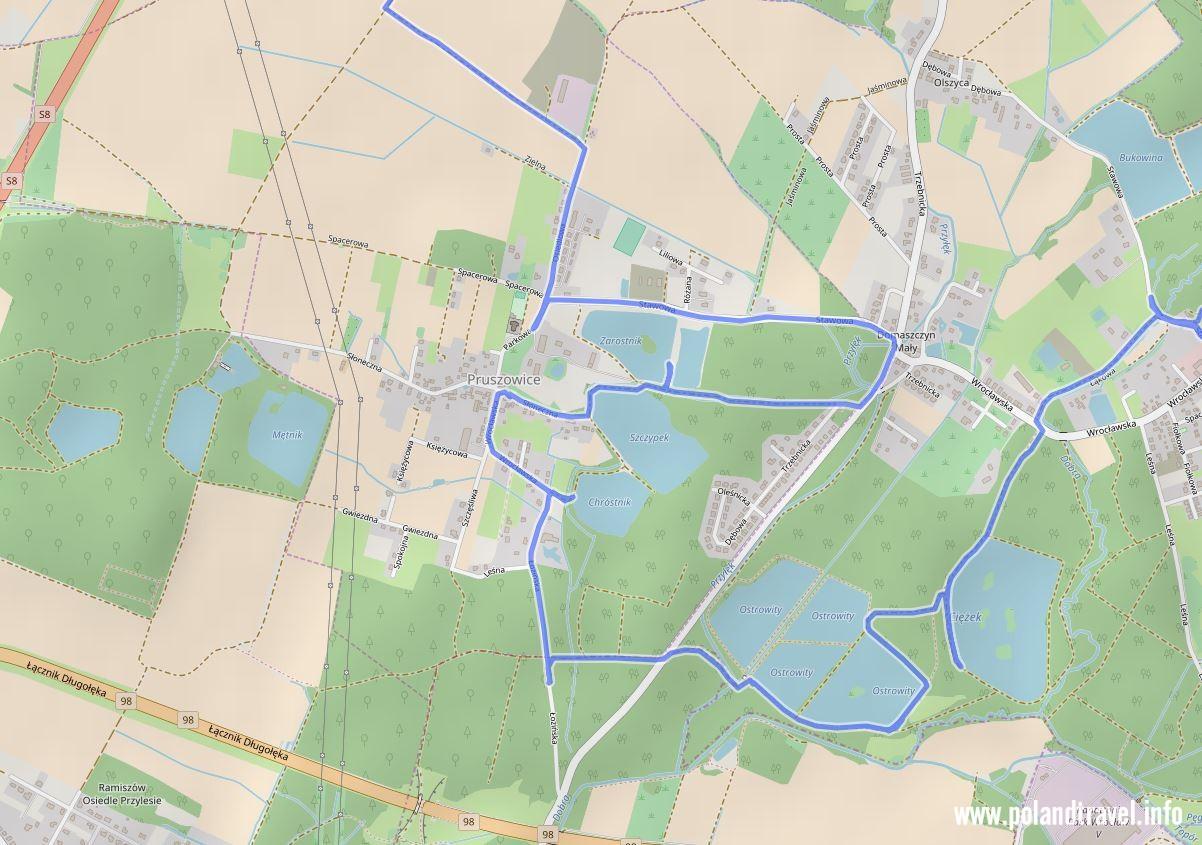Mapa z stawami w okolicach Pruszowic