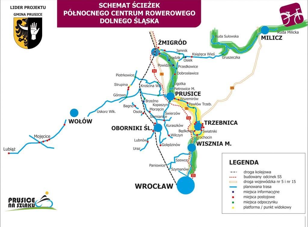 schemat Północnego Centrum Rowerowego, szkic wielu zaplanowanych tras rowerowych na północ od Wrocławia, podkolorowano gotowe odcinki