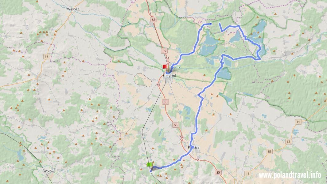 Mapa trasy rowerowej Osola - Żmigród