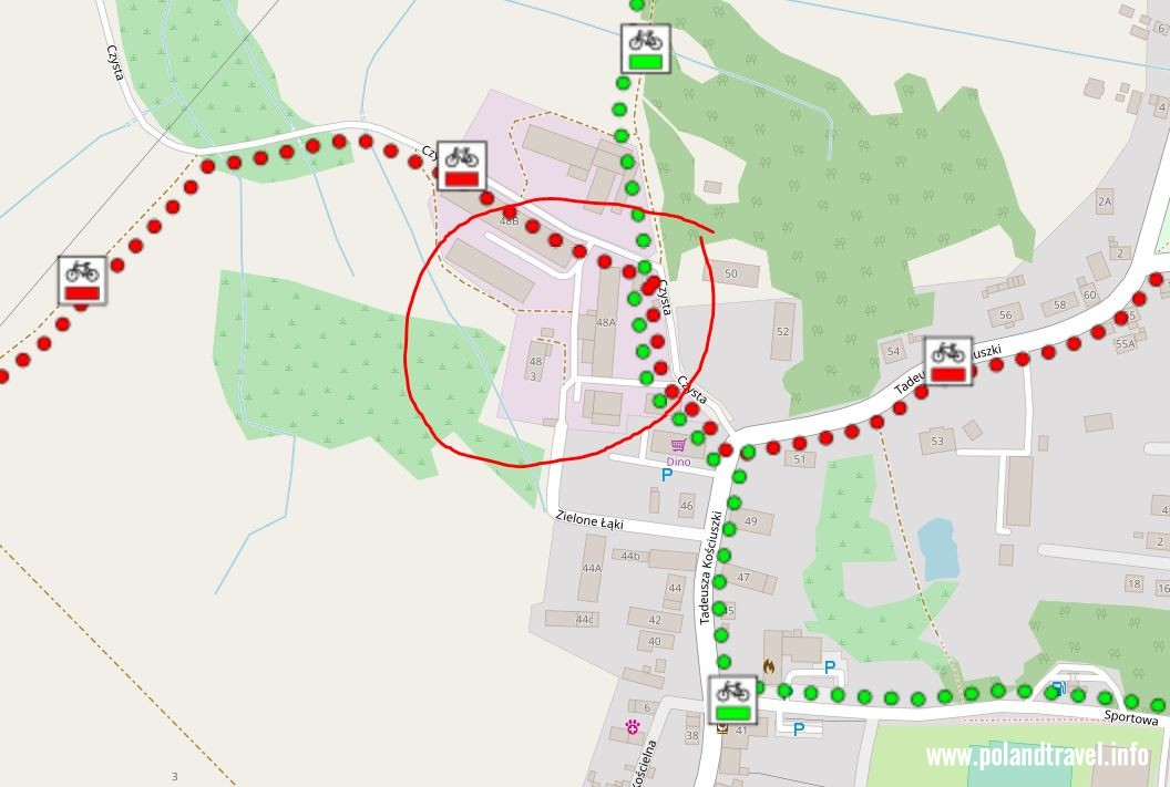 Szkic, winnice Jaworek, Miękinia, zielony i czerwony szlak rowerowy, zaznaczone budynki winnicy